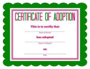 Free Printable Stuffed Animal Adoption Certificate inside Stuffed Animal Adoption Certificate Editable Templates