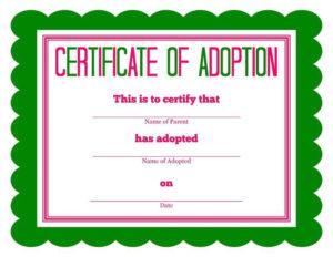 Free Printable Stuffed Animal Adoption Certificate regarding New Stuffed Animal Adoption Certificate Template Free