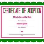 Free Printable Stuffed Animal Adoption Certificate With Regard To New Pet Adoption Certificate Template