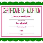 Free Printable Stuffed Animal Adoption Certificate Within Toy Adoption Certificate Template