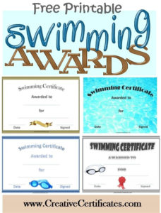 Free Printable Swimming Certificates And Awards   Swimming pertaining to Swimming Achievement Certificate Free Printable