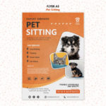 Free Psd   Pet Sitting Concept Flyer Template Inside Service Dog Certificate Template Free 7 Designs