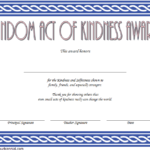 Free Random Acts Of Kindness Certificate Template 2 | Two For Fresh Kindness Certificate Template Free