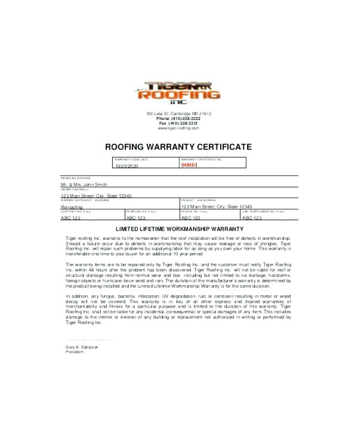 Free Roof Certification Template Form Download Monster within Unique Roof Certification Template