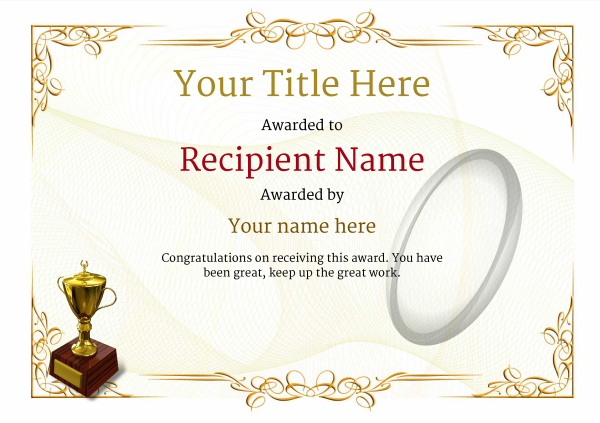 Free Rugby Certificate Templates - Add Printable Badges & Medals in Rugby Certificate Template