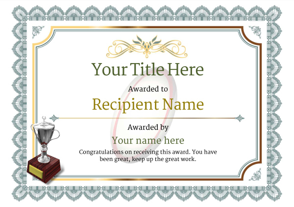 Free Rugby Certificate Templates - Add Printable Badges & Medals inside Rugby Certificate Template