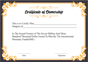 Free Sample Certificate Of Ownership Templates | Certificate for New Certificate Of Ownership Template