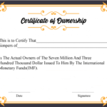 Free Sample Certificate Of Ownership Templates | Certificate Regarding Best Ownership Certificate Template