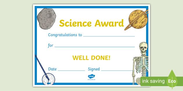 Free! - Science Award Certificate (Teacher Made) for Unique Science Award Certificate Templates