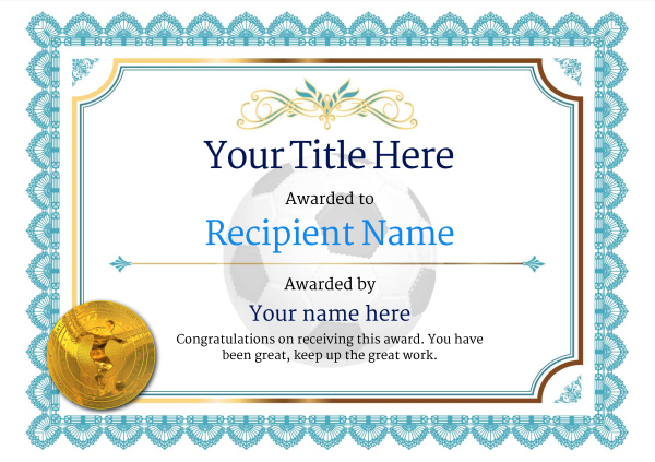 Free Soccer Certificate Templates - Add Printable Badges inside Soccer Certificate Template Free