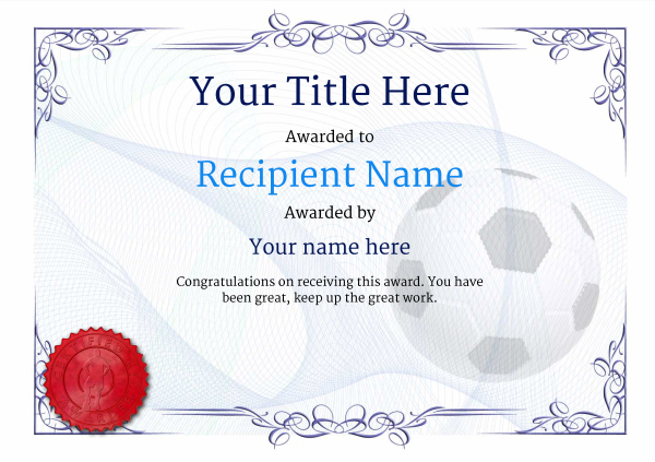 Free Soccer Certificate Templates - Add Printable Badges with regard to Soccer Certificate Template Free