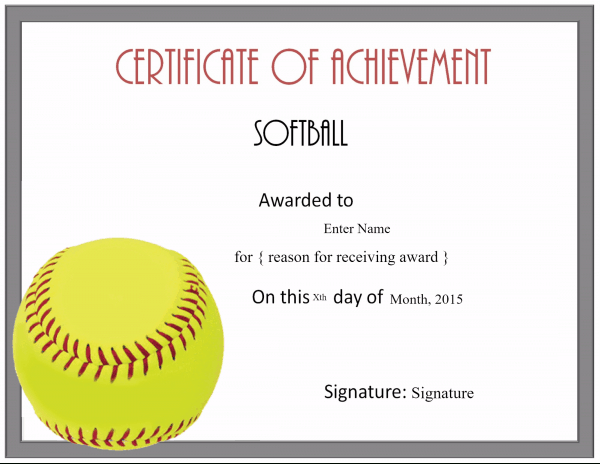 Free Softball Certificate Templates - Customize Online for Printable Softball Certificate Templates