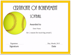 Free Softball Certificate Templates - Customize Online for Softball Award Certificate Template