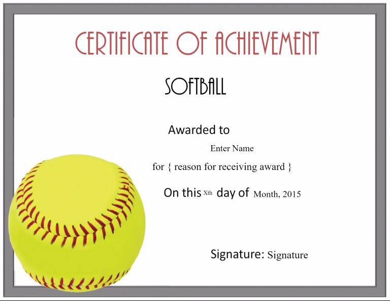 Free Softball Certificate Templates - Customize Online inside Free Softball Certificate Templates