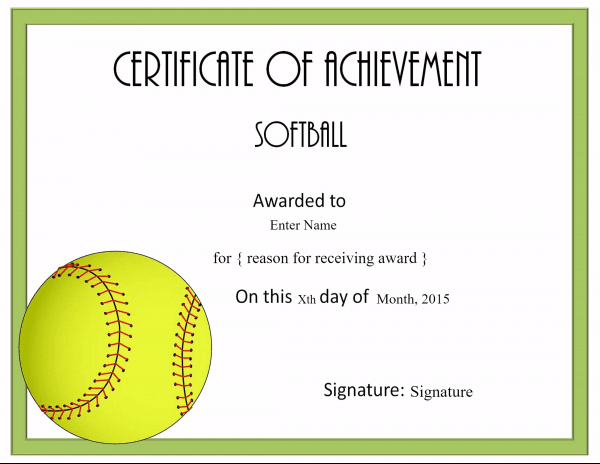 Free Softball Certificate Templates - Customize Online with regard to Printable Softball Certificate Templates