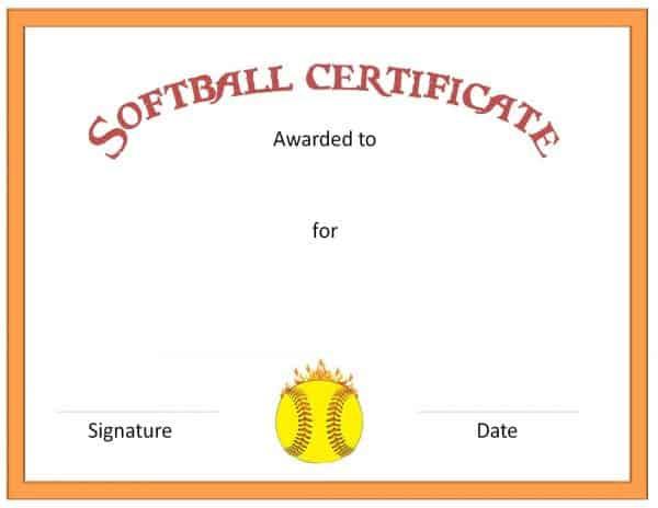 Free Softball Certificate Templates - Customize Online within Softball Award Certificate Template