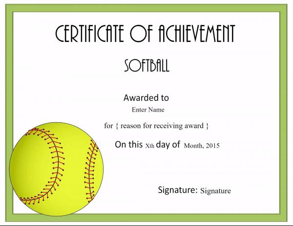 Free Softball Certificate Templates - Customize Online within Unique Free Softball Certificate Templates