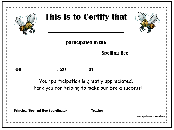 Free Spelling Bee Certificates pertaining to Fresh Spelling Bee Award Certificate Template