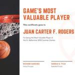 Free Sport Certificates Templates To Customize | Canva Regarding Unique Basketball Mvp Certificate Template