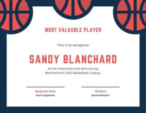 Free Sport Certificates Templates To Customize   Canva with Unique Basketball Mvp Certificate Template
