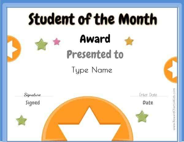 Free Student Of The Month Certificate | Customize With Your throughout Best Free Printable Student Of The Month Certificate Templates