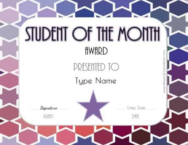 Free Student Of The Month Certificate   Customize With Your with Best Free Printable Student Of The Month Certificate Templates