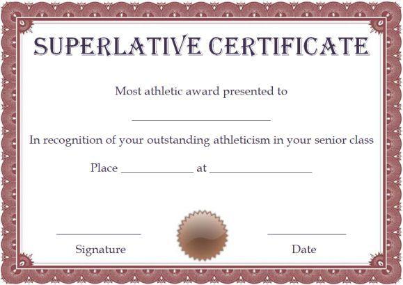 Free Superlative Certificate Template | Certificate in Fresh Superlative Certificate Template