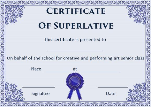 Free Superlative Certificate Templates | Certificate intended for Superlative Certificate Template