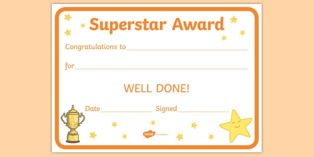 Free! – Superstar Award Certificates (Teacher Made) Inside Quality Kindness Certificate Template 7 New Ideas Free
