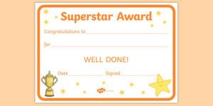Free! – Superstar Award Certificates (Teacher Made) within Star Award Certificate Template