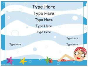 Free Swimming Certificate Templates Blank Certificate with Swimming Certificate Templates Free