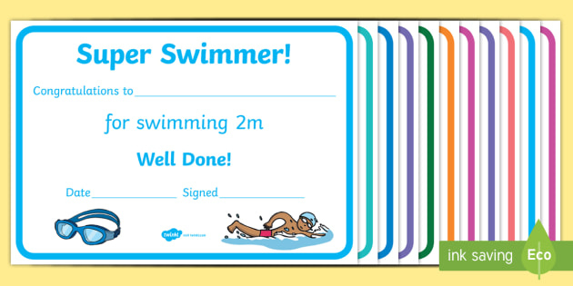 Free! - Swimming Certificate Templates - Physical Education with regard to Best Swimming Achievement Certificate Free Printable