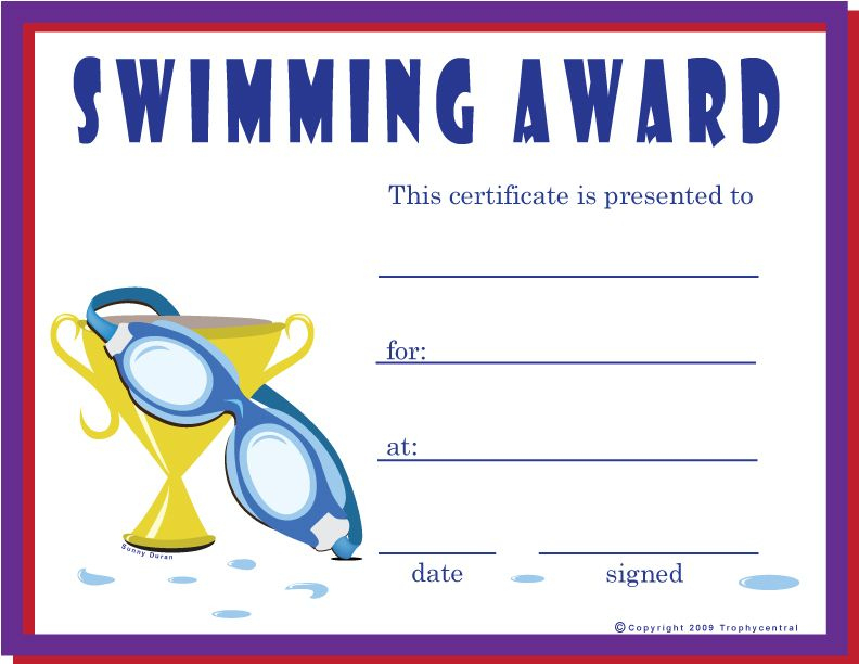 Free Swimming Certificates, Printable Swimming Certificate intended for Swimming Certificate Templates Free