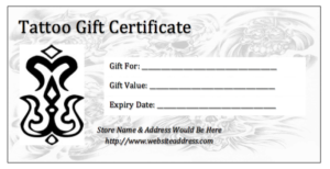 Free Tattoo Gift Certificate Template – Shouldirefinancemyhome in New Tattoo Gift Certificate Template Coolest Designs