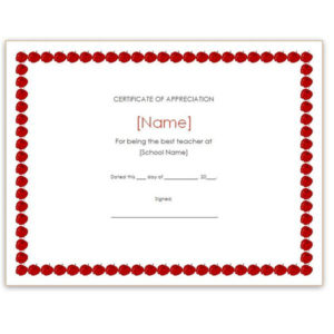 Free Teacher Appreciation Certificates: Download Word And throughout Teacher Appreciation Certificate Free Printable
