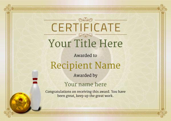 Free Ten Pin Bowling Certificate Templates Inc Printable in Best Bowling Certificate Template