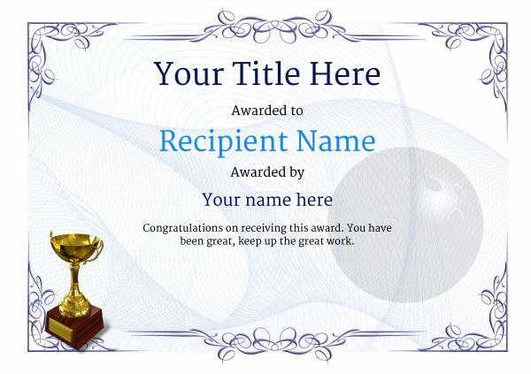 Free Ten Pin Bowling Certificate Templates Inc Printable regarding Bowling Certificate Template