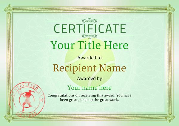 Free Tennis Certificate Templates - Add Printable Badges for Best Table Tennis Certificate Template Free