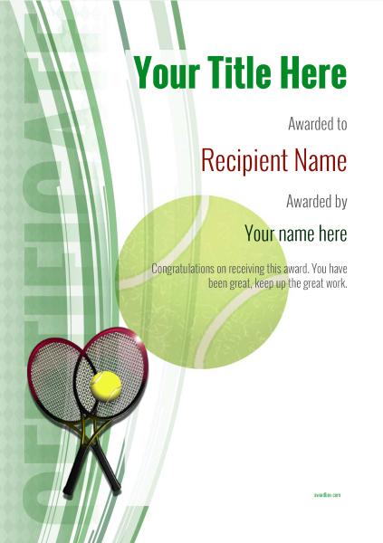 Free Tennis Certificate Templates - Add Printable Badges for Best Table Tennis Certificate Templates Editable