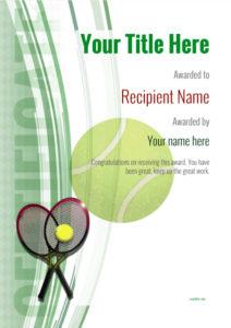 Free Tennis Certificate Templates – Add Printable Badges in Editable Tennis Certificates