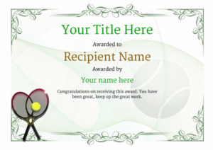 Free Tennis Certificate Templates – Add Printable Badges inside Fresh Tennis Participation Certificate