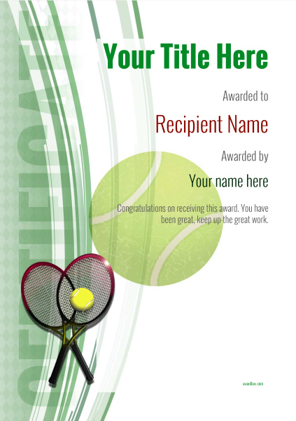 Free Tennis Certificate Templates - Add Printable Badges pertaining to Tennis Gift Certificate Template