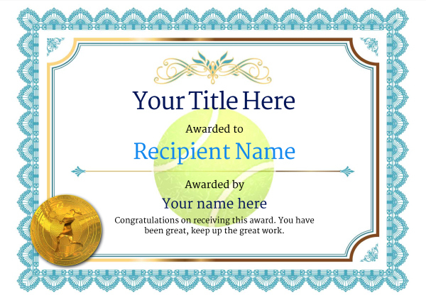 Free Tennis Certificate Templates - Add Printable Badges with Quality Tennis Achievement Certificate Template