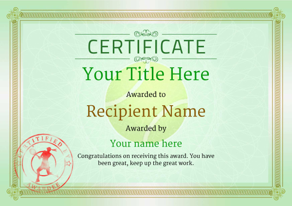 Free Tennis Certificate Templates - Add Printable Badges with Quality Tennis Certificate Template Free