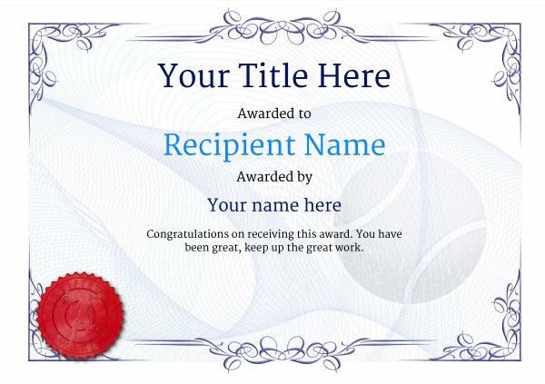 Free Tennis Certificate Templates - Add Printable Badges with Tennis Certificate Template