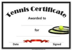 Free Tennis Certificate Templates | Customizable & Printable in Best Editable Tennis Certificates