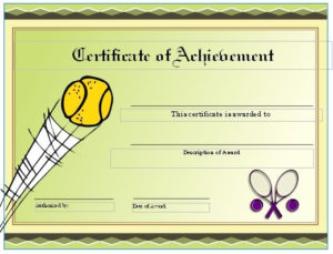 Free Tennis Certificates On Womens Tennis World | Gift within Tennis Achievement Certificate Template