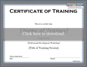 Free Training Certificate Templates | Lovetoknow intended for Training Completion Certificate Template