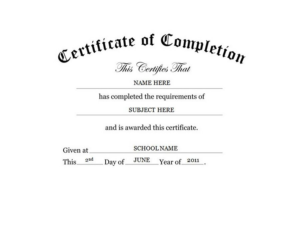 Free Training Completion Certificate Templates (4 for Free Training Completion Certificate Templates