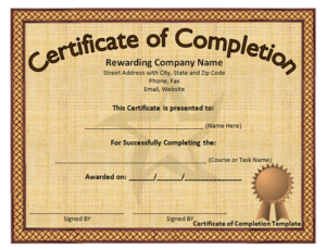 Free Training Completion Certificate Templates (7 regarding Fresh Free Training Completion Certificate Templates